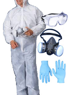 Equipment kit with gloves, mask, suit, mask and goggles